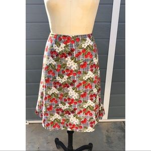 Vintage Cherry plaid a line skirt
